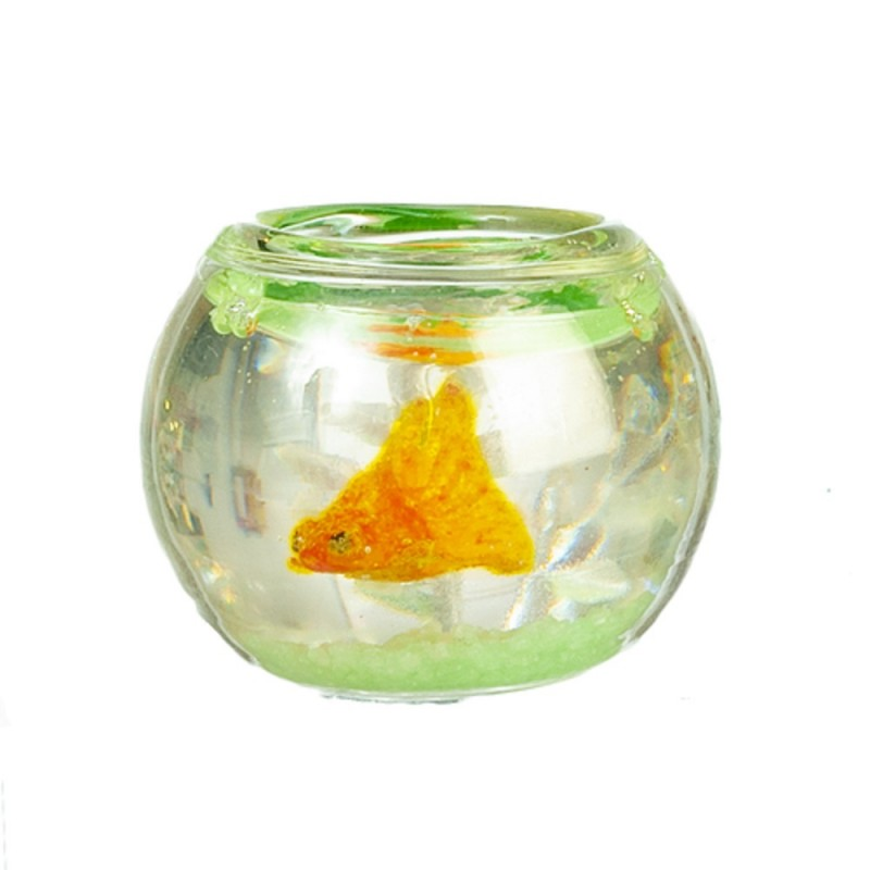 Dolls House Glass Goldfish Bowl with Fish Plants and Decor 1:12 Pet Accessory