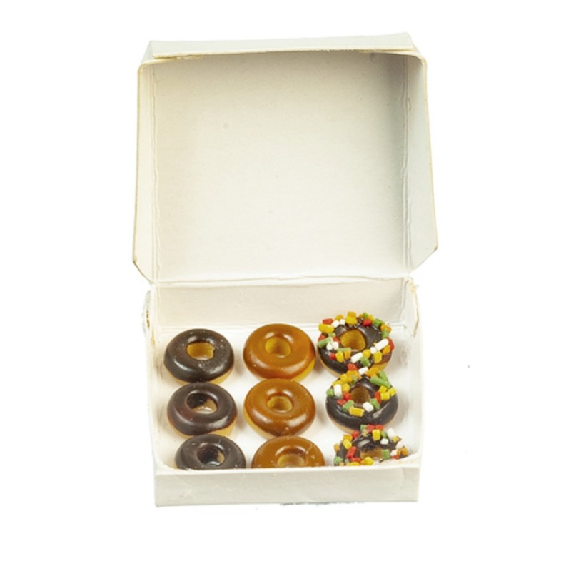 Dolls House Plain White Box of 9 Donuts Miniature Bakery Shop Accessory 1:12