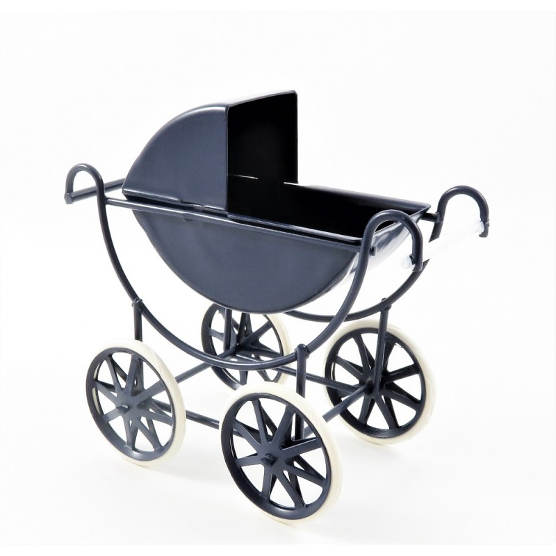 Dolls House Navy & White Baby Pram 1:12 Scale Old Fashioned Nursery Furniture