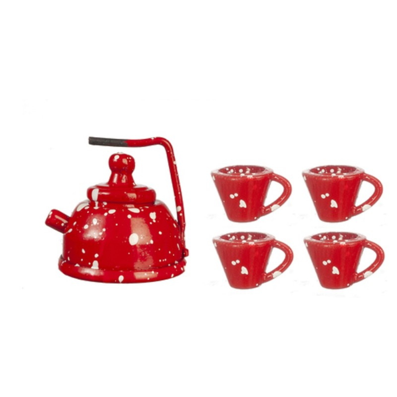 Dolls House Red Spot Tea Pot Kettle & Cups Mugs Metal Kitchen Accessory 1:12