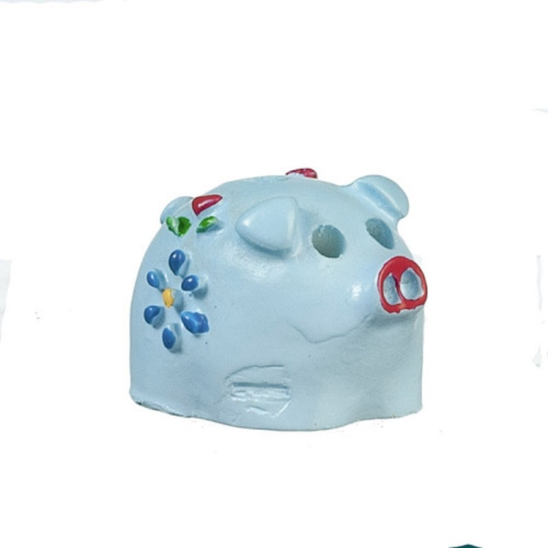 Dolls House Blue Piggy Bank Miniature Nursery Toy Shop Accessory 1:12 Scale