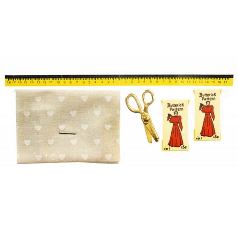 Dolls House Material Pattern Scissors & Tape Measure Sewing Dressmaker Accessory