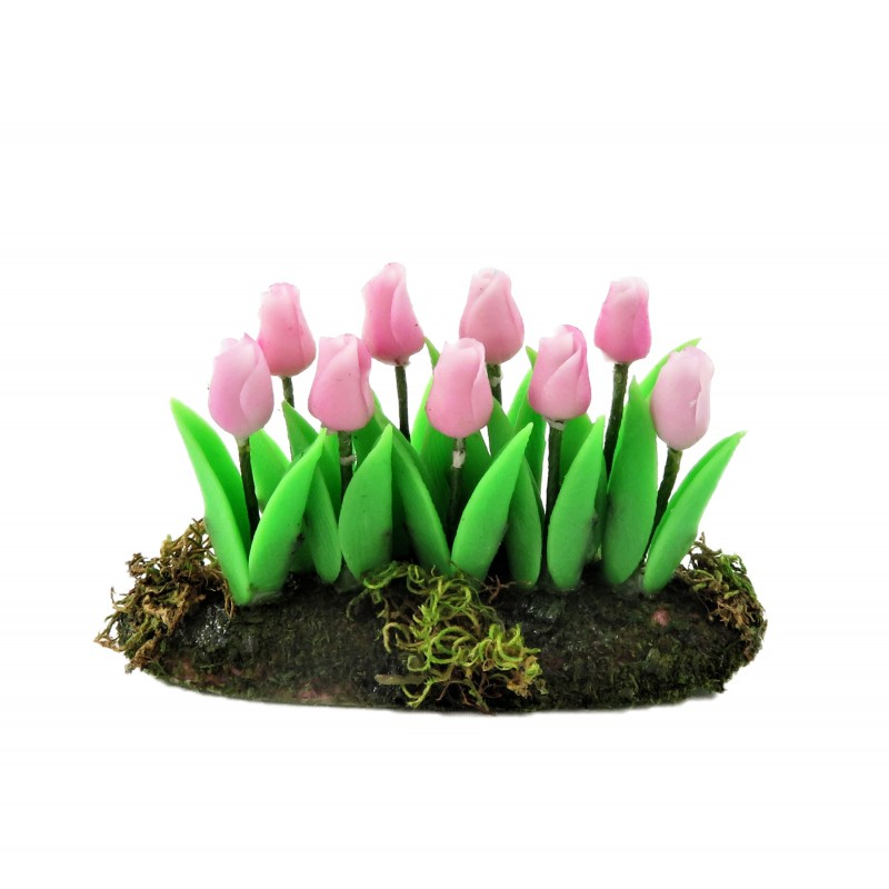 Dolls House Pink Tulips Flowers in Ground Soil Grass Miniature Garden Accessory