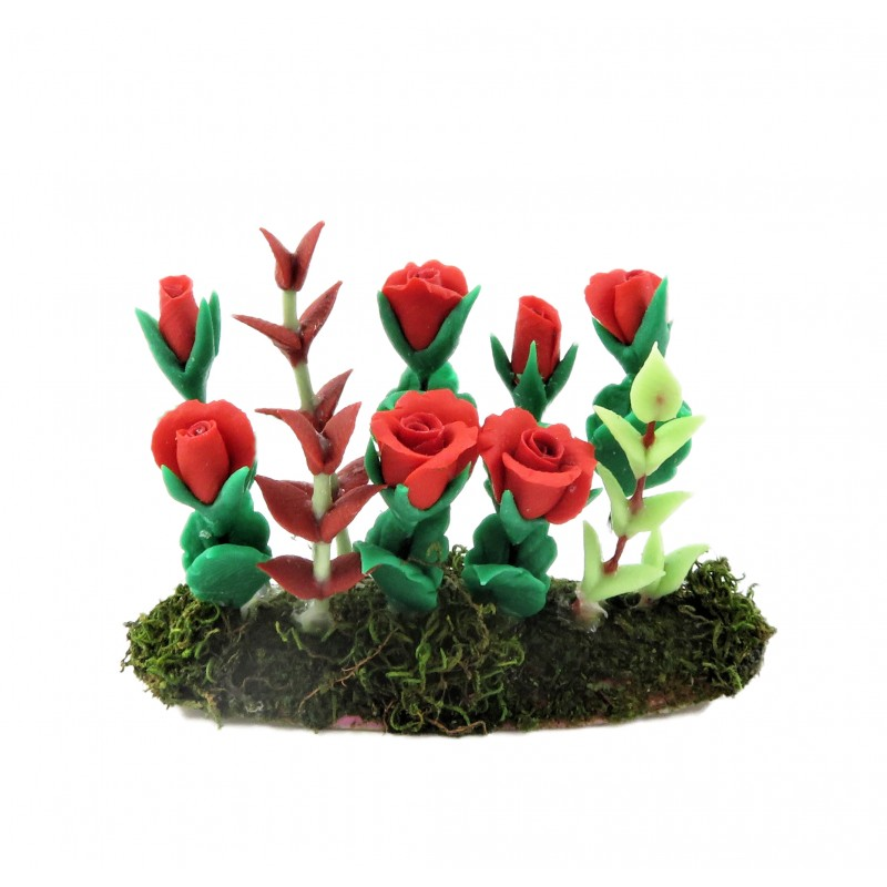 Dolls House Red Roses Flowers in Ground Soil Grass Miniature Garden Accessory