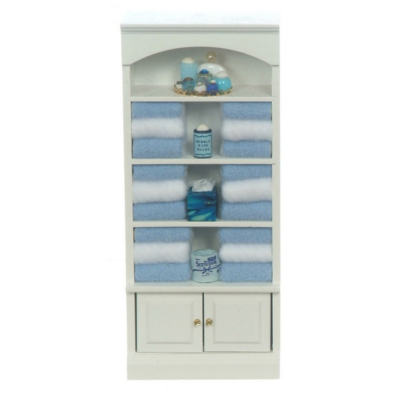 Dolls House Miniature 1:12 Bathroom Furniture Shelf Unit with Blue Accessories