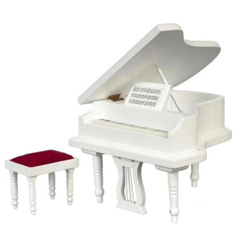 Dolls House White Grand Piano & Bench Stool Miniature Music Room Furniture