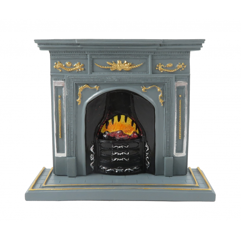Dolls House Grey & Gold Fireplace with Flaming Fire 1:12 Scale Resin Furniture