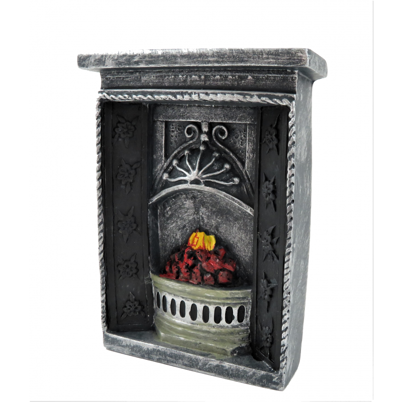 Dolls House Small Grey Cast Iron Fireplace Flaming Fire 1:12 Resin Furniture