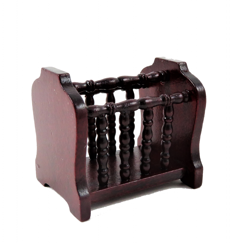 Dolls House Mahogany Magazine Paper Rack Miniature Living Room Furniture