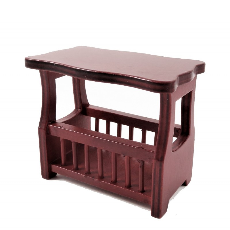 Dolls House Mahogany Magazine Paper Rack Side Table Living Room Furniture