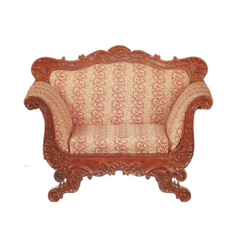 Dolls House American Armchair Walnut Red JBM Miniature Living Room Furniture