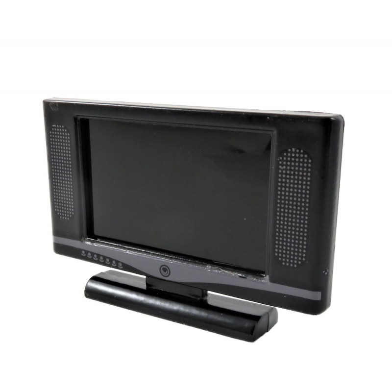 Dolls House Modern Black Widescreen Television TV 1:12 Living Room Accessory