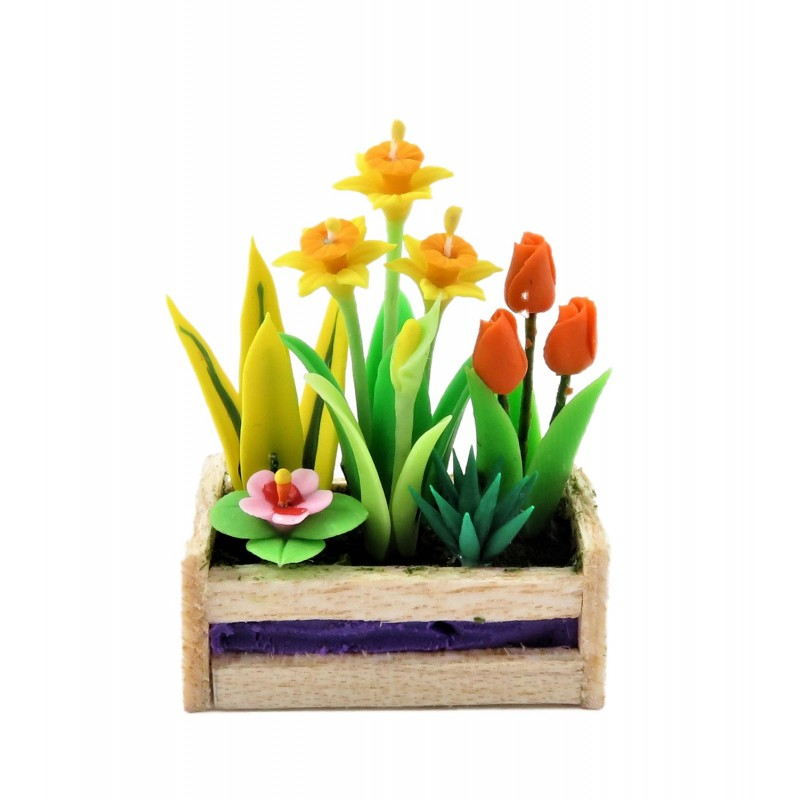Dolls House Spring Flowers in Box Planter Daffs Tulips 1:12 Garden Accessory