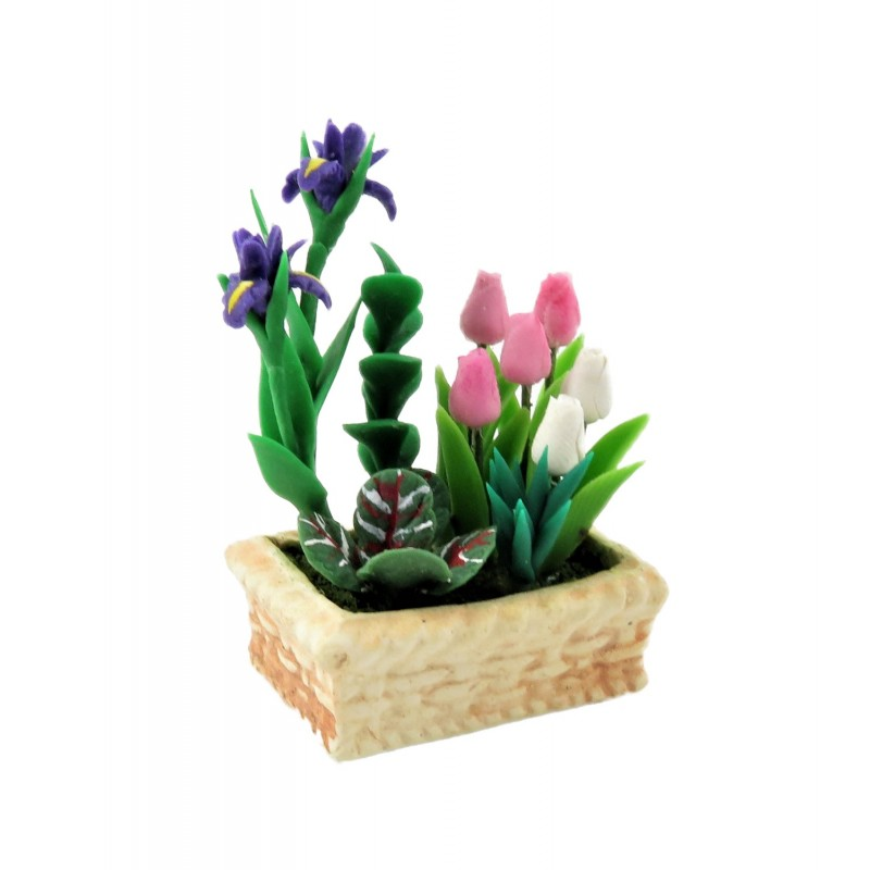 Dolls House Spring Flowers in Planter Pink White Tulips & Iris Garden Accessory