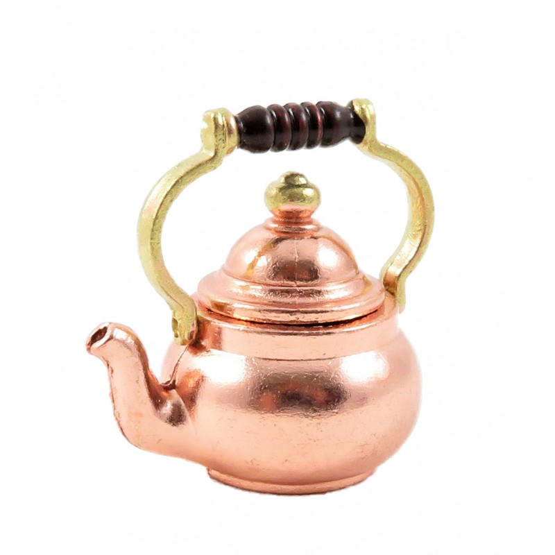 Dolls House Copper Kettle Brass Knob & Handle Old Fashioned Kitchen Accessory