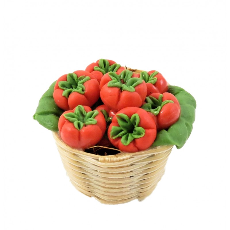 Dolls House Basket of Beef Tomatoes Miniature Greengrocers Shop Accessory