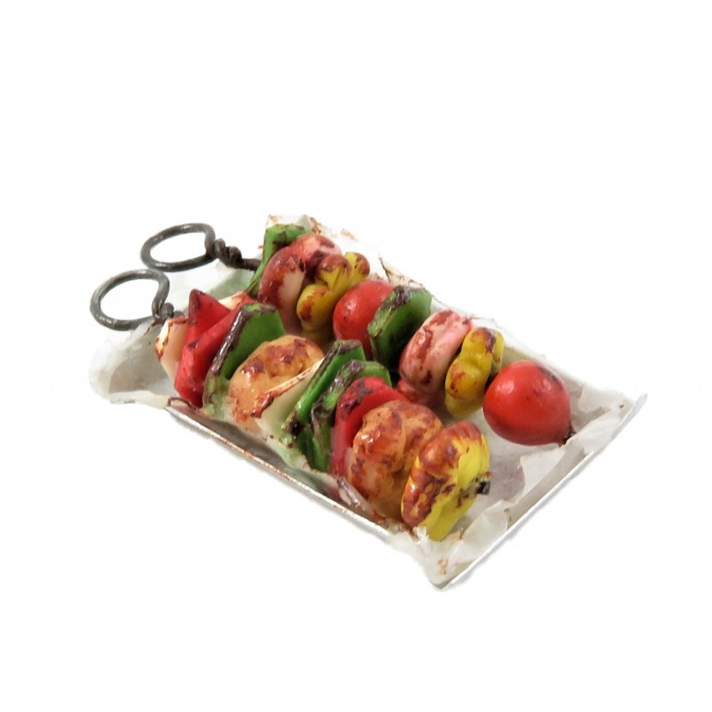 Dolls House Skewered Kebabs on Tray Kitchen Barbecue Food Shop Accessory