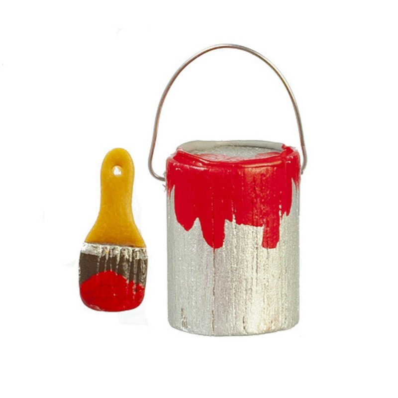 Dolls House Can Tin of Red Paint & Brush Miniature Accessory Tools DIY 1:12