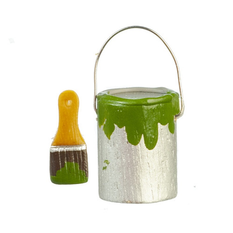 Dolls House Can Tin of Green Paint & Brush Miniature Accessory Tools DIY 1:12