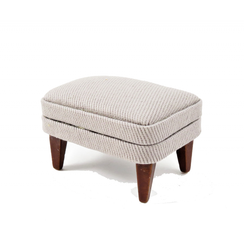 Dolls House Walnut & Grey Fireside Footstool Pouffe 1:12 Living Room Furniture