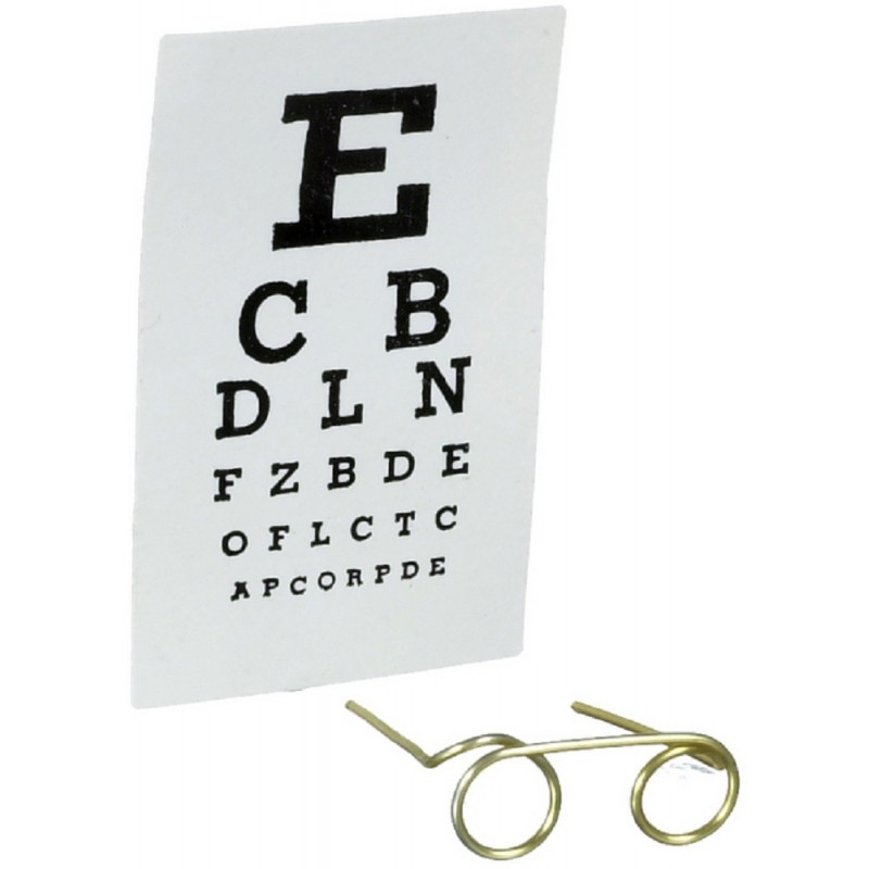 Dolls House Eye Test Kit Chart and Spectacles Clinic Opticians Accessory 1:12