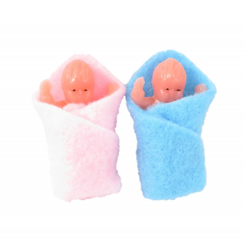 Dolls House 2 Swaddled Babies Miniature 1:12 Scale People Baby in Blanket