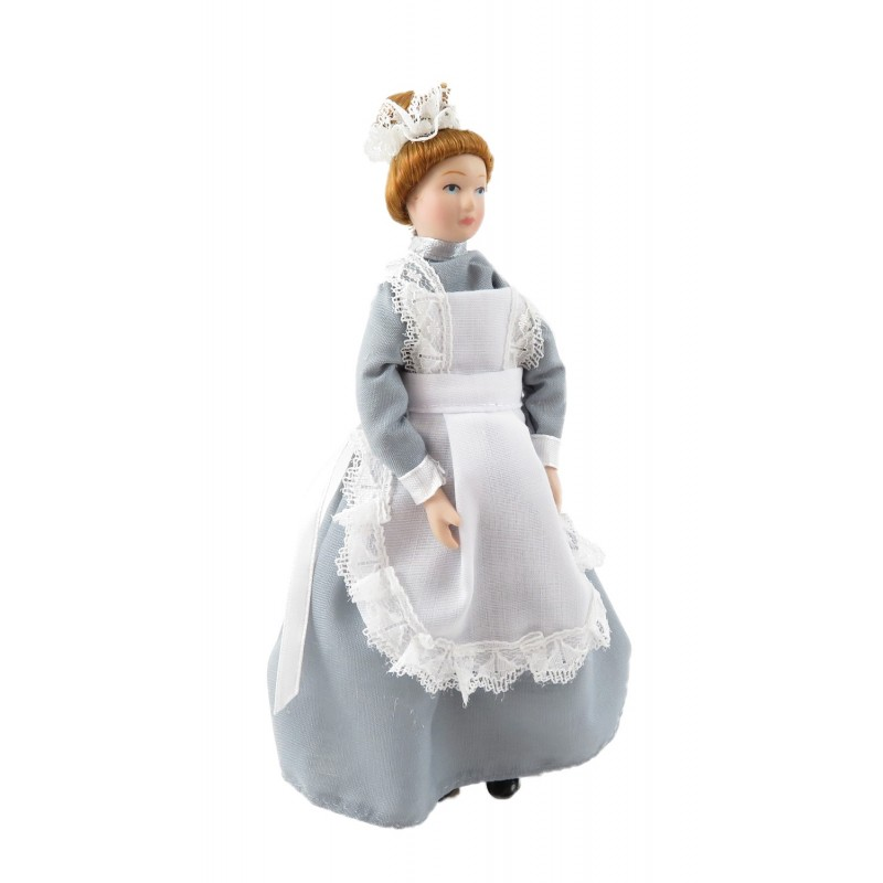 Dolls House Victorian Parlour Maid Woman Lady Servant in Grey Porcelain People