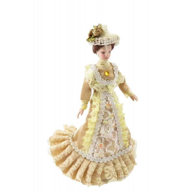 Dolls House Victorian Lady Constance In Gold Outfit Porcelain 1:12 Scale People