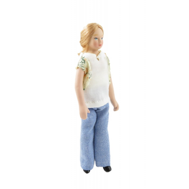 Dolls House Modern Woman in Summer Jeans & T-Shirt Porcelain Mum 1:12 People