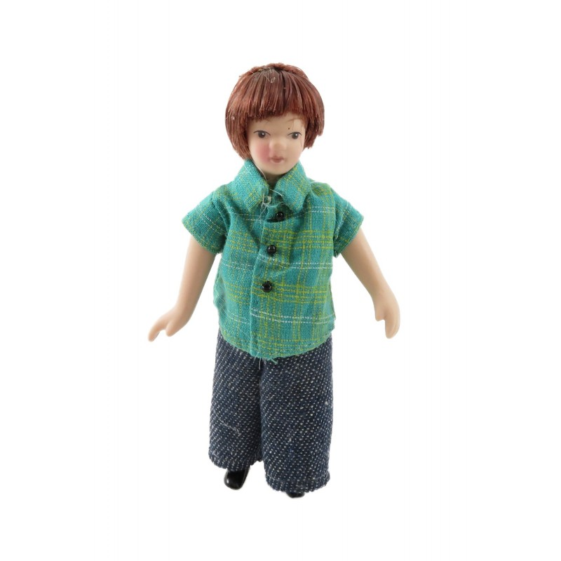 Dolls House Modern Boy in Summer T-Shirt & Jeans Little Brother Porcelain People
