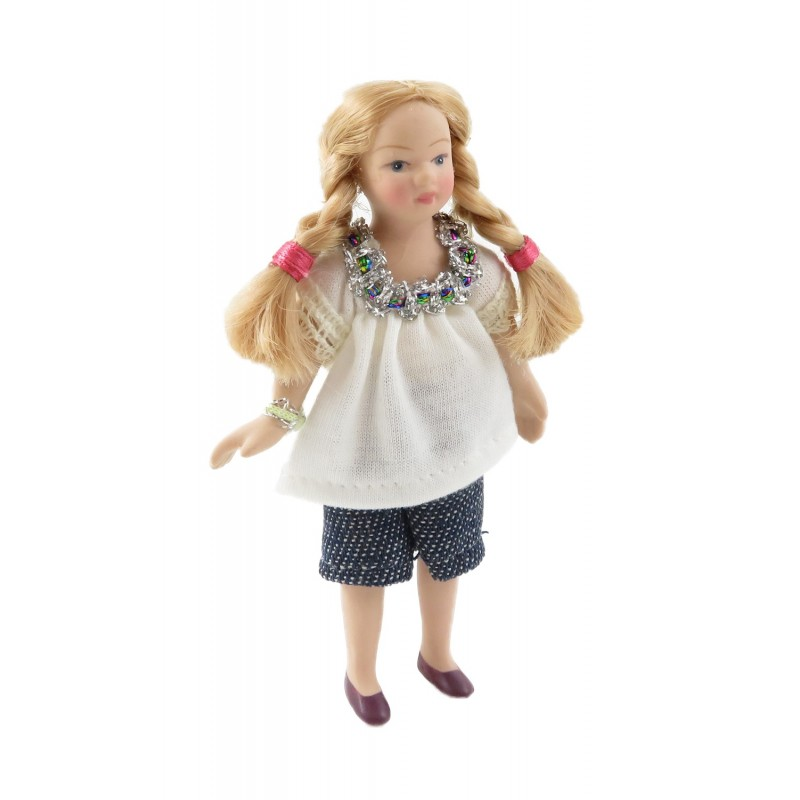 Dolls House Modern Girl in Summer Top & Shorts Little Sister Porcelain People