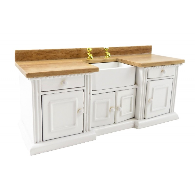 Dolls House White & Light Oak Sink Unit with Belfast Sink 1:12 Kitchen Furniture