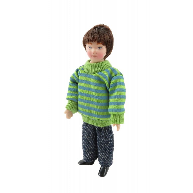 Dolls House Modern Boy in Jumper & Jeans Little Brother Porcelain 1:12 People