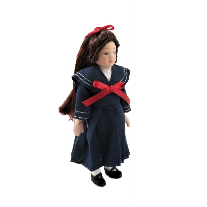 Dolls House Little Girl in Sailor Dress 1:12 Scale Miniature Porcelain People