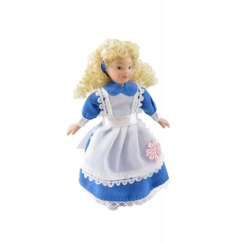 Dolls House Little Girl in Alice in Wonderland Dress 1:12 Porcelain People