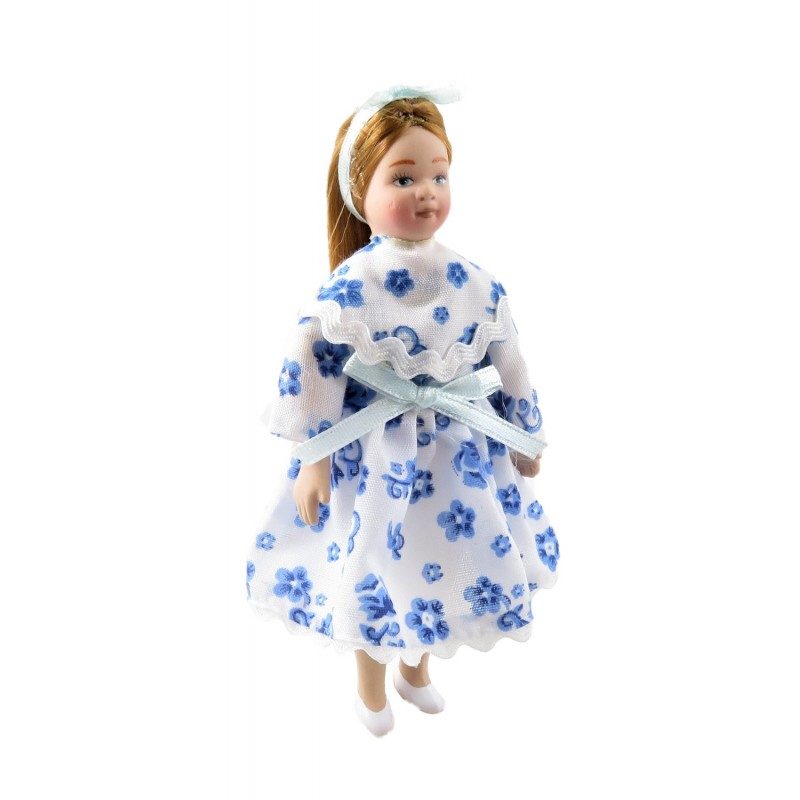 Dolls House Modern Little Girl in Party Dress 1:12 Scale Porcelain People