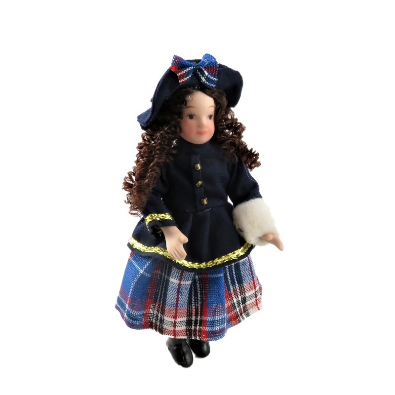 Dolls House Victorian Little Girl in Winter Outfit 1:12 Scale Porcelain People