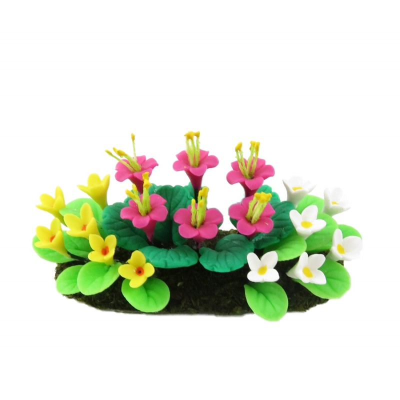Dolls House Pink White Yellow Mixed Flowers in Ground Miniature Garden Accessory