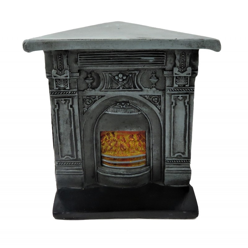 Dolls House Victorian Corner Cast Iron Fireplace Miniature 1:12 Resin Furniture