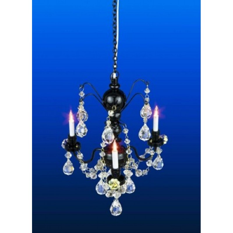 Dolls House Real Crystal Chandelier 3 Arm Black Finish Miniature 12V Lighting