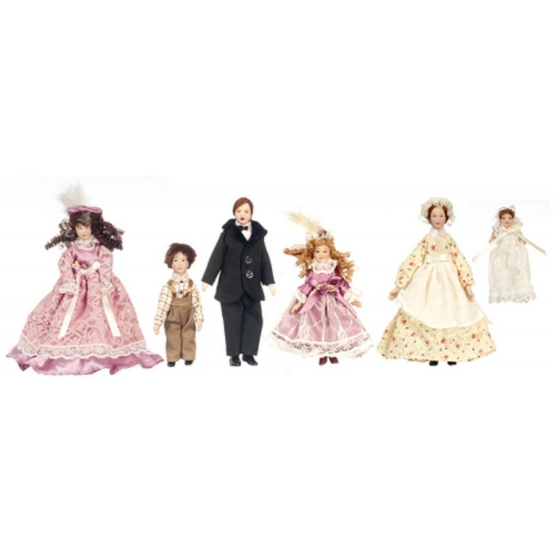 Dolls House Victorian Family of 6 People Miniature 1:12 Porcelain Figures