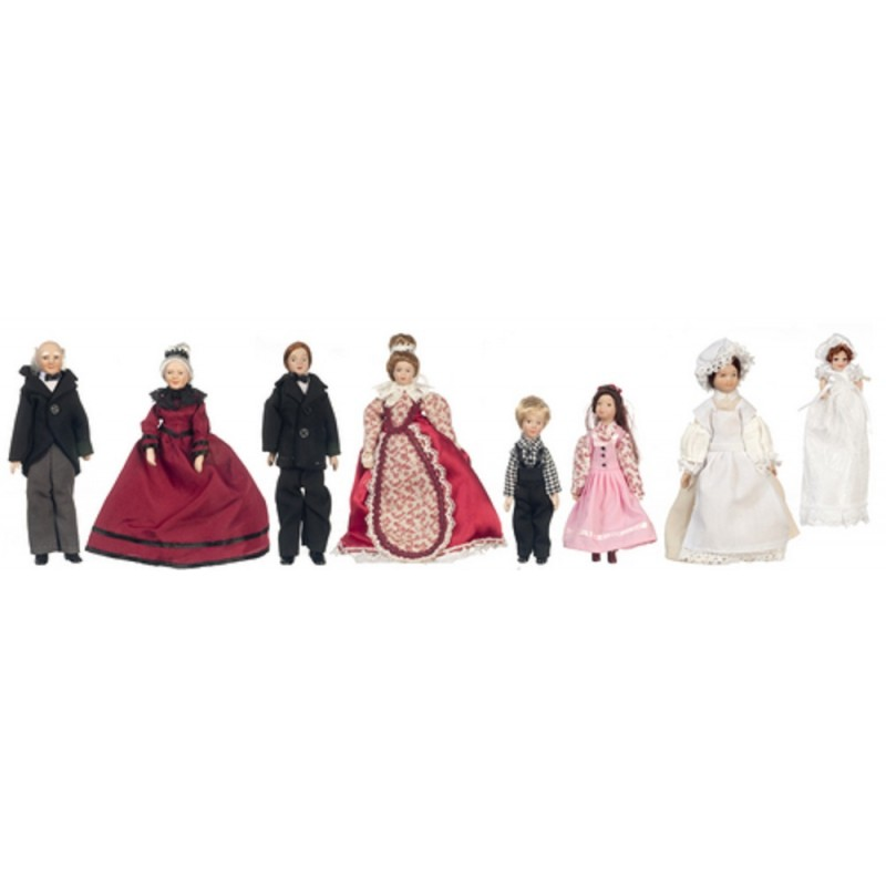 Dolls House Victorian Family of 8 People Miniature 1:12 Porcelain Figures