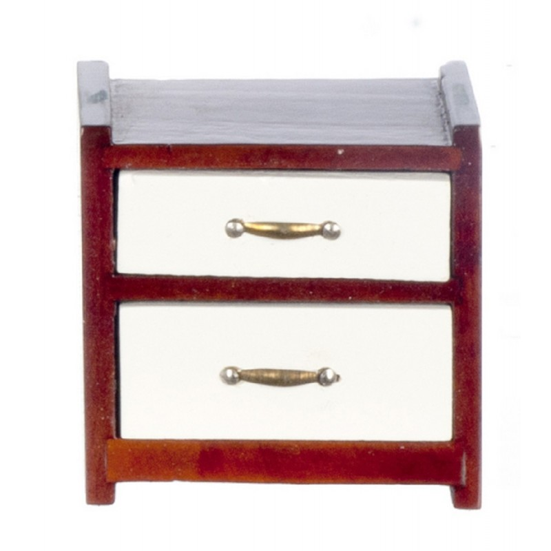 Dolls House Modern Bedside Chest Nightstand Mahogany White Bedroom Furniture