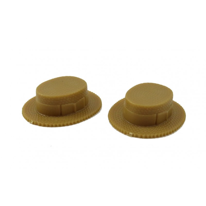 Dolls House 2 Straw Boater Hats Chrysnbon 1:12 Plastic Scale Hall Accessory
