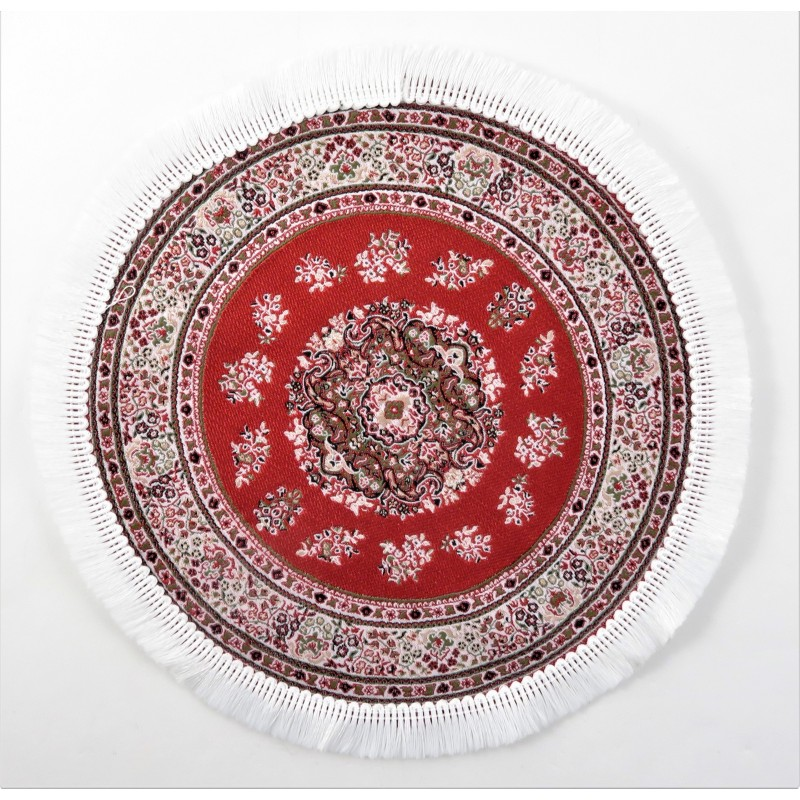 Dolls House Round Turkish Carpet Miniature Red & White Circular Rug With Fringe