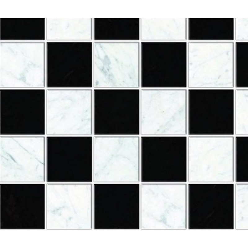 Dolls House Black & White Floor Tiles Miniature 1:12 Flooring Gloss Card Sheet