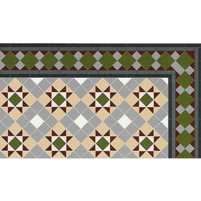 Dolls House Victorian Mosaic Grosvenor Tile Floor 1:12 Flooring Gloss Card Sheet