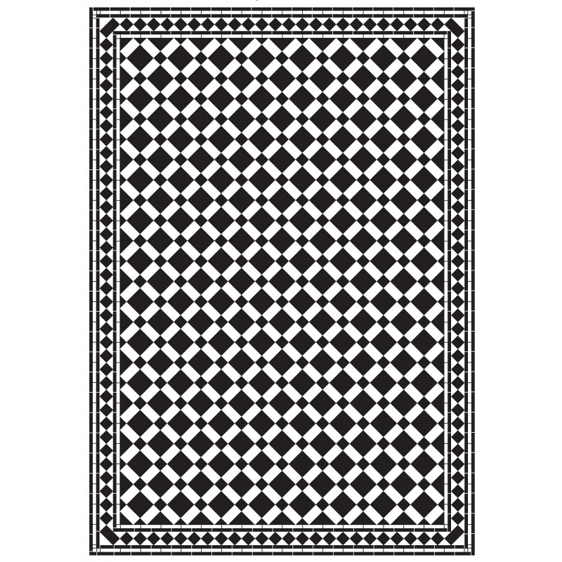 Dolls House Emporium Mono Victorian Tile Floor Black & White Gloss Card Sheet