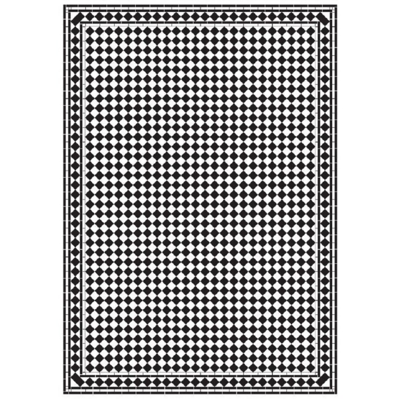 Dolls House Harlequin Petite Mono Tile Floor Black & White Gloss Card Sheet