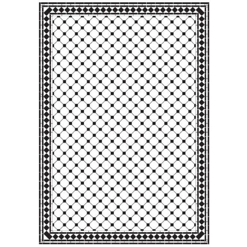 Dolls House Checker Octagonal Mono Tile Floor Black & White Gloss Card Sheet